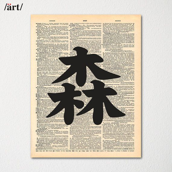 Kanji Forest Symbol Japanese Writing On Dictionary Page