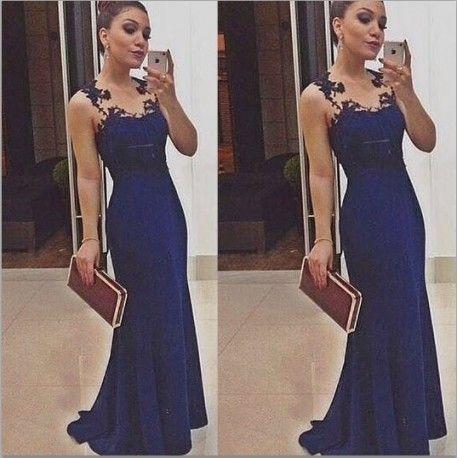 1c5283f7b6 Vestido Sereia Azul Liso sem manga com detalhes em Tule no Ombro