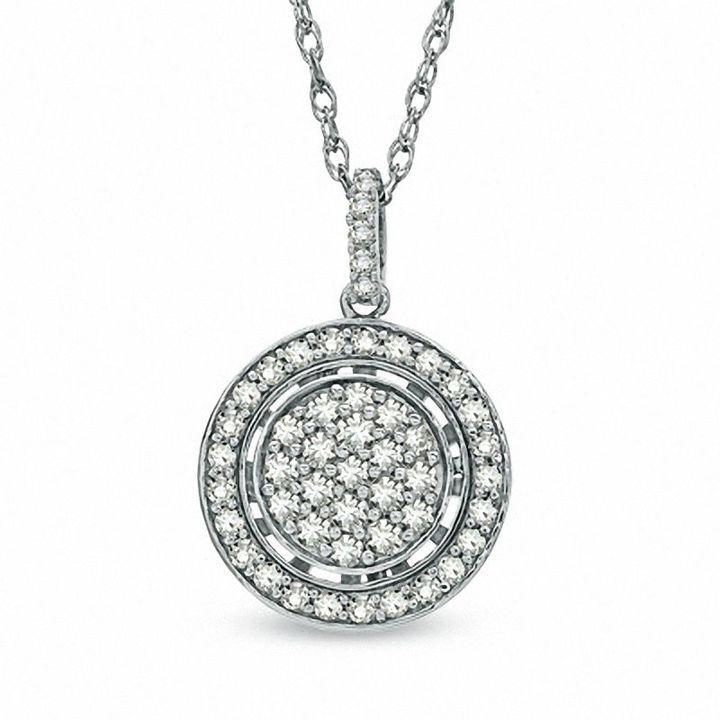Zales 1/4 CT. T.w. Diamond Cluster Pendant in Sterling Silver 9kAshG8tM