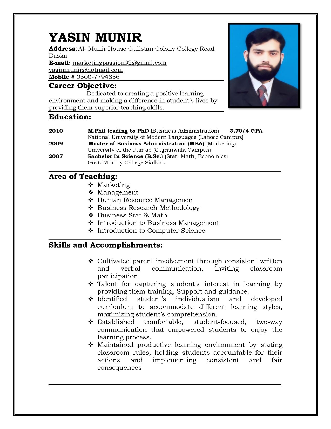 Free Resume Templates For Teachers To Download Free Professional
