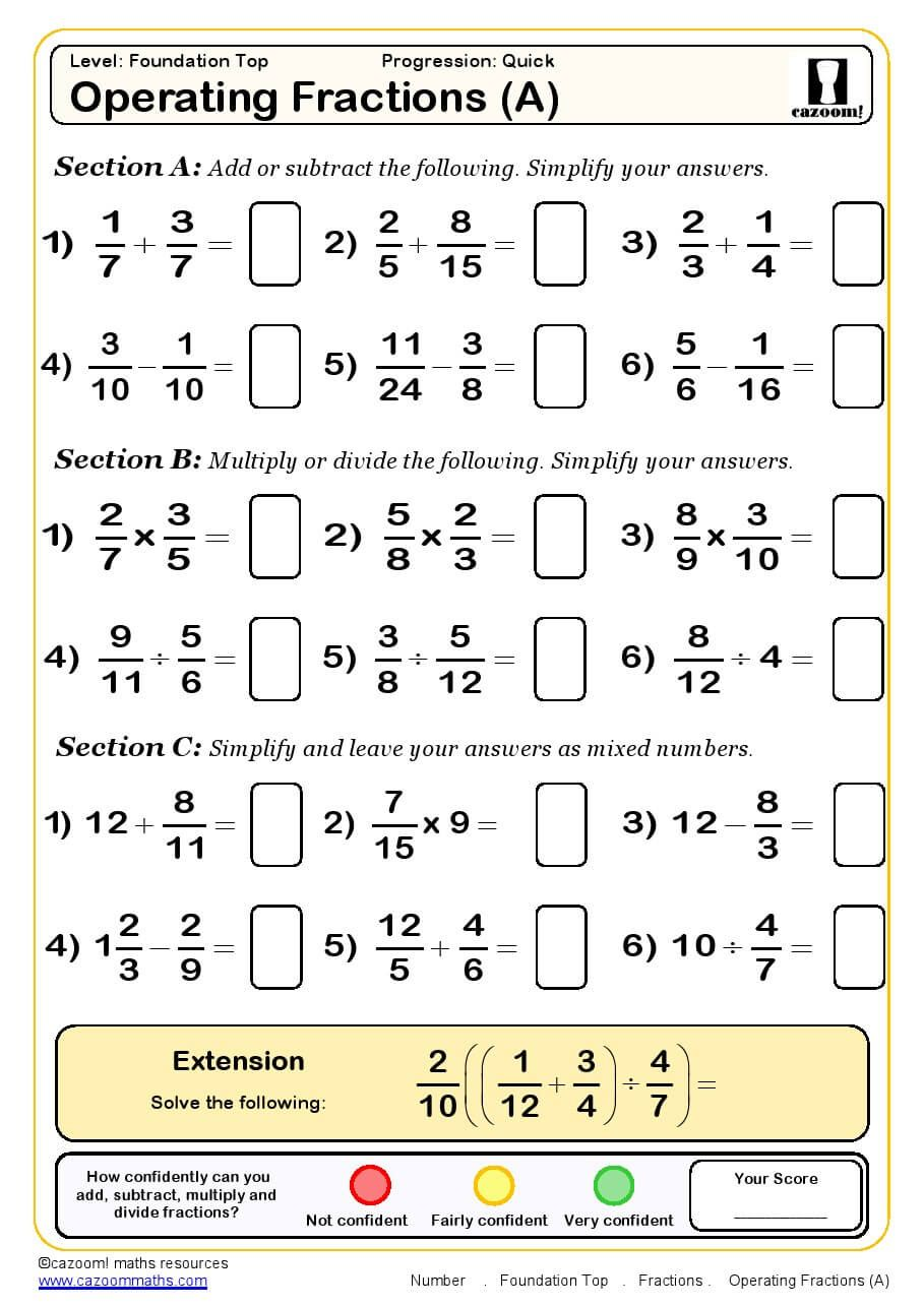 Operating Fractions Maths Worksheet Ks3 maths worksheets