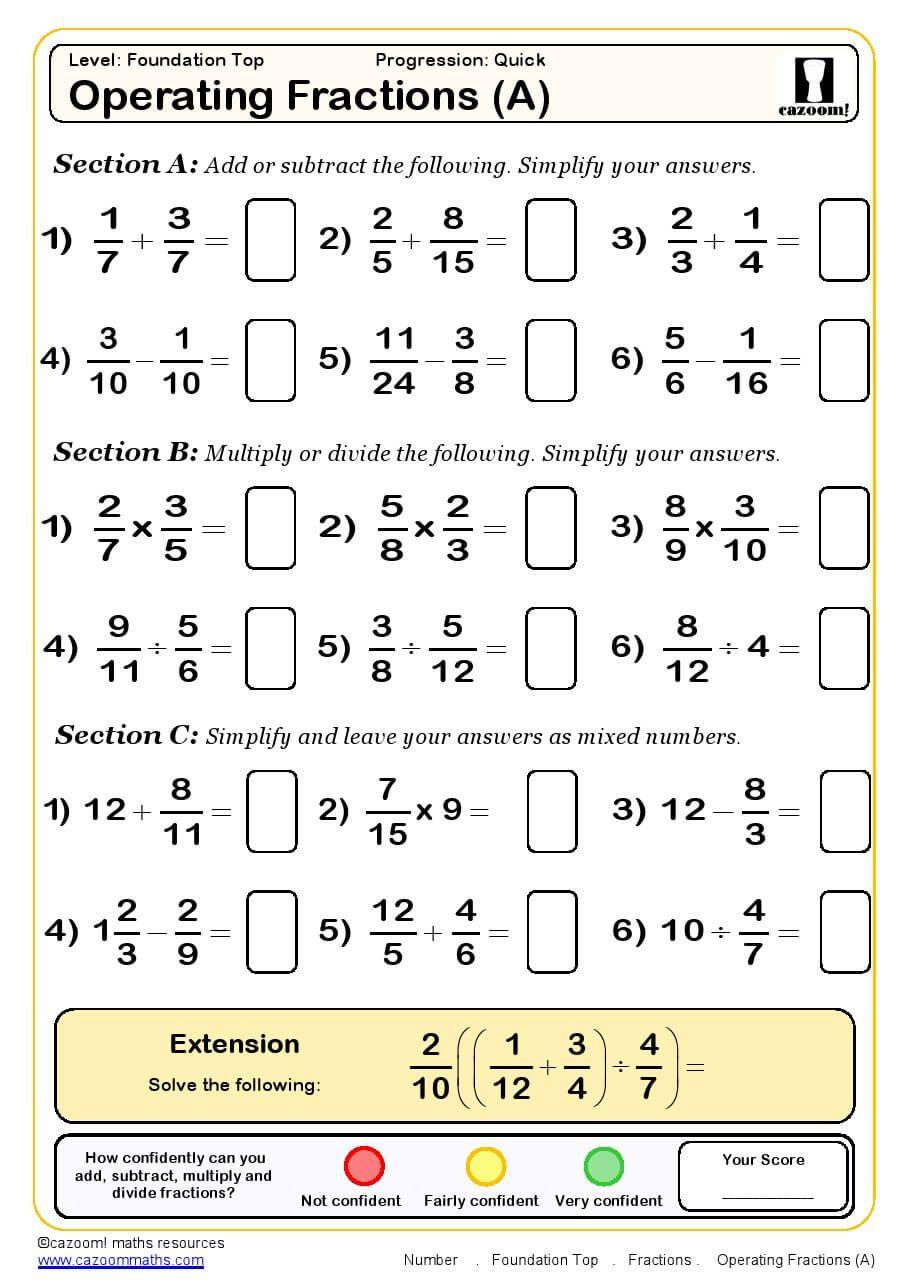 medium resolution of Operating Fractions Maths Worksheet   Algebra worksheets