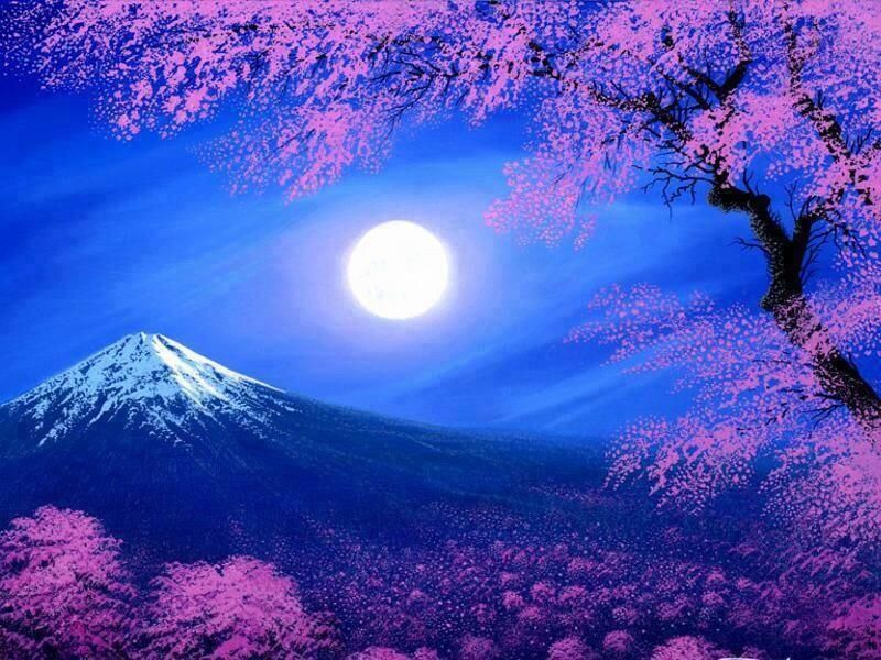 Vicky On Twitter Beautiful Moon Fuji Painting Moon Painting Cherry blossom night anime wallpaper