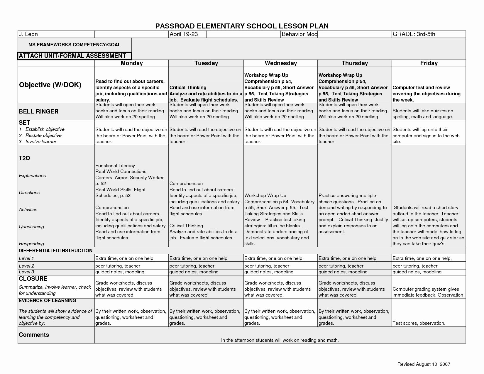 Lovely Lesson Plans Template For Elementary In