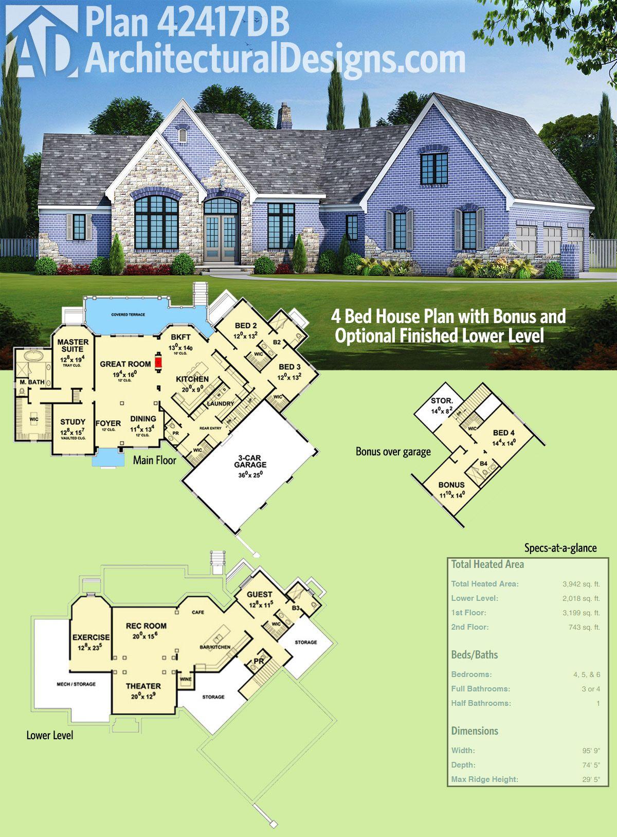 Plan 42417DB 4 Bed House Plan with Bonus and Optional