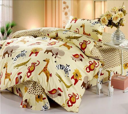 Safari Animals Kids Bedding Twin Duvet Cover Set For Boys S Cute Yellow Wild Jungle