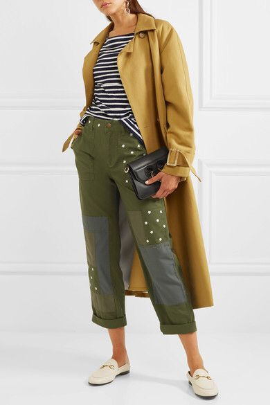 Free Shipping Shop Geller Embroidered Patchwork Cotton Straight-leg Pants - Dark green J.crew Excellent For Sale Footlocker Pictures Cheap Price Really For Sale iTwEN