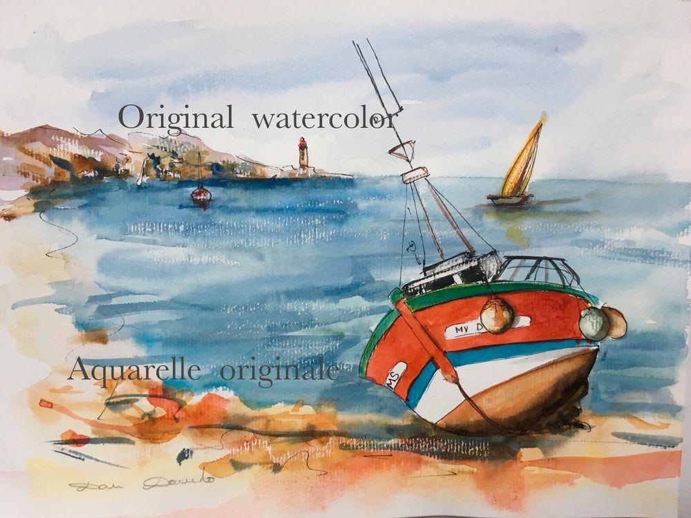 Dam Domido Aquarelle Originale Original Watercolor Painting