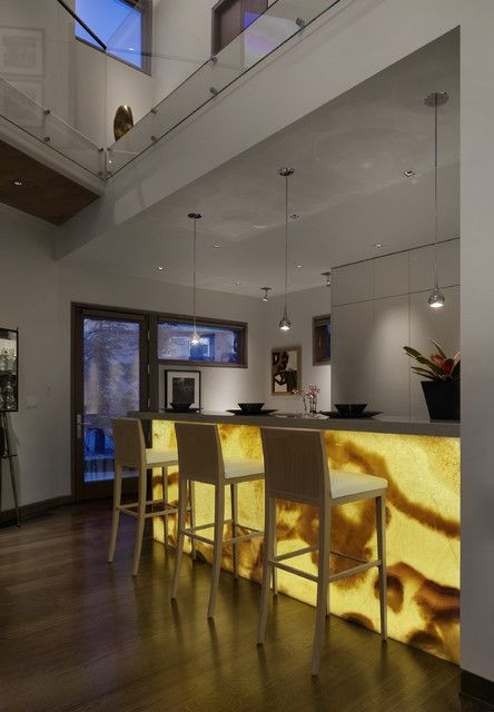 Backlit Onyx Bar Front   Modern   Kitchen   Denver   186 Lighting Design  Group