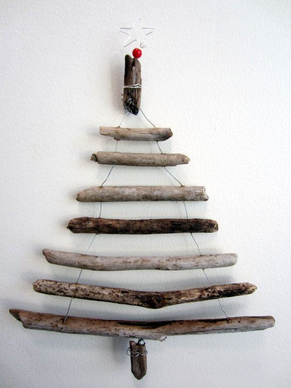 driftwood christmas tree wall hanging by thewildgrape on etsy