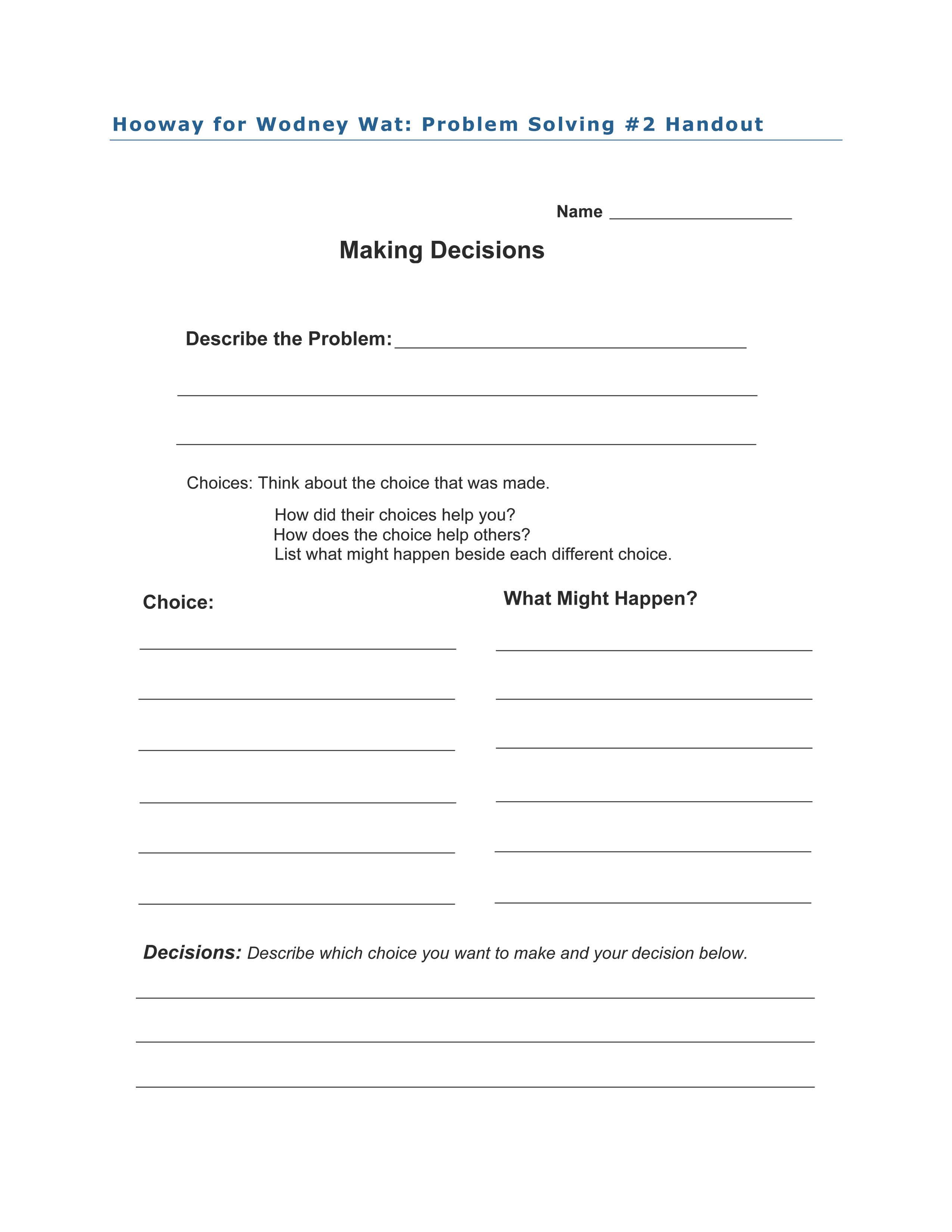 Problem Solving 2 activity for Hooway for Wodney Wat by Helen Lester ...