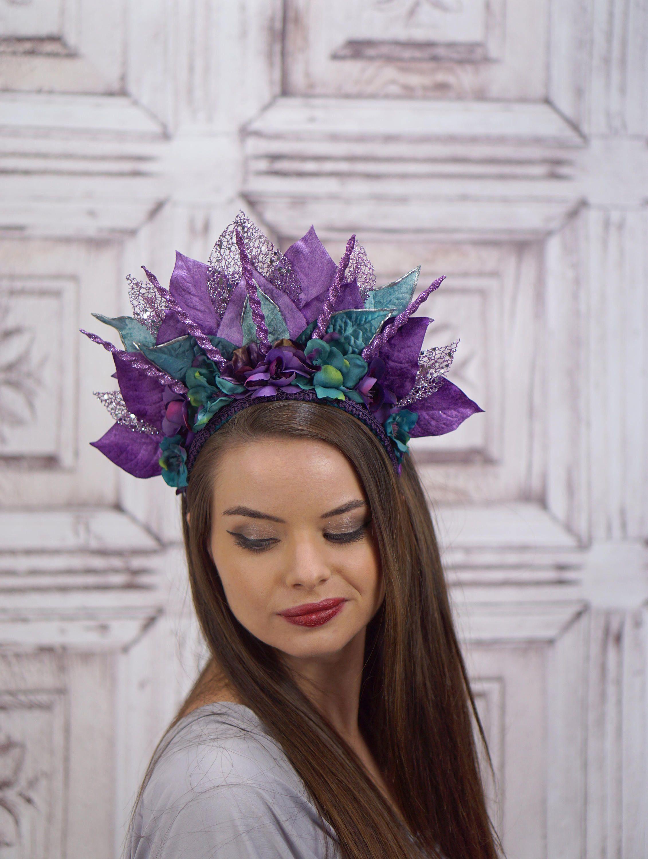 purple and teal ocean goddess headdress costume headdress mermaid