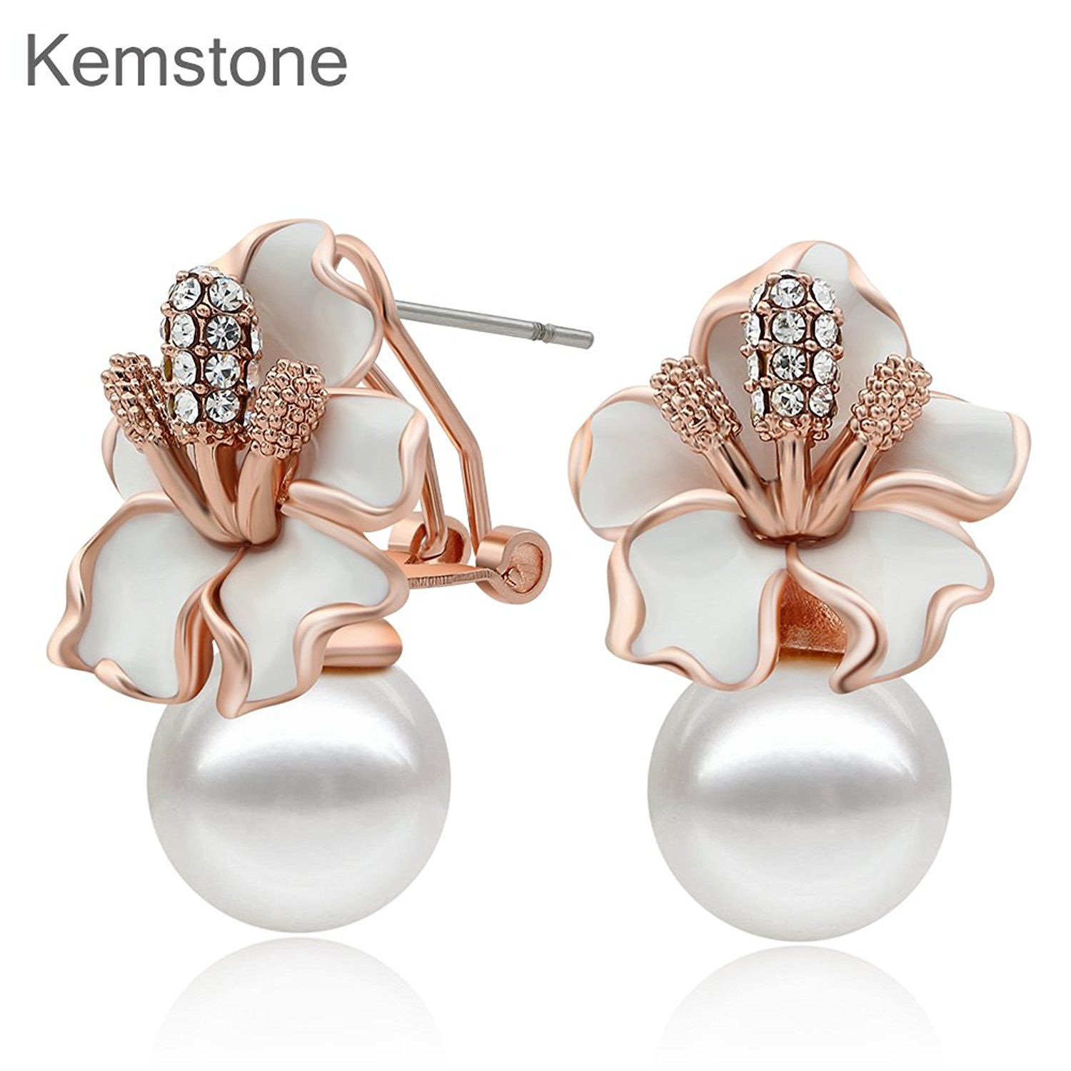 Kemstone Crystal Simulated Pearl Acrylic Flower Stud Earrings Women Jewelry y2uxYLcEw1