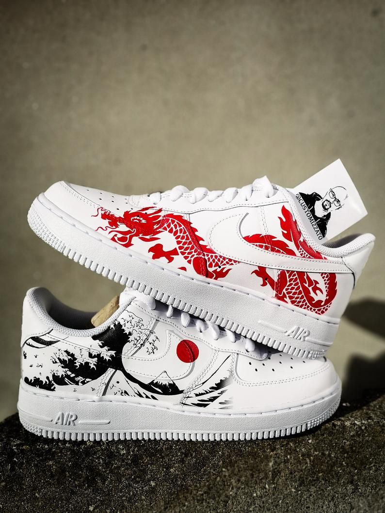 "Personnalisés Nike Air Force 1 ""Dragon rouge x La Grande Vague au large de Kanagawa"""