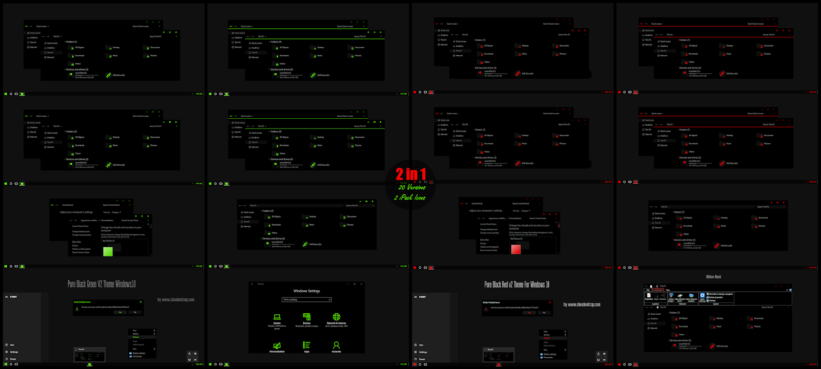 Pure Black Green and Red V2 Combo Pack Theme For Windows10