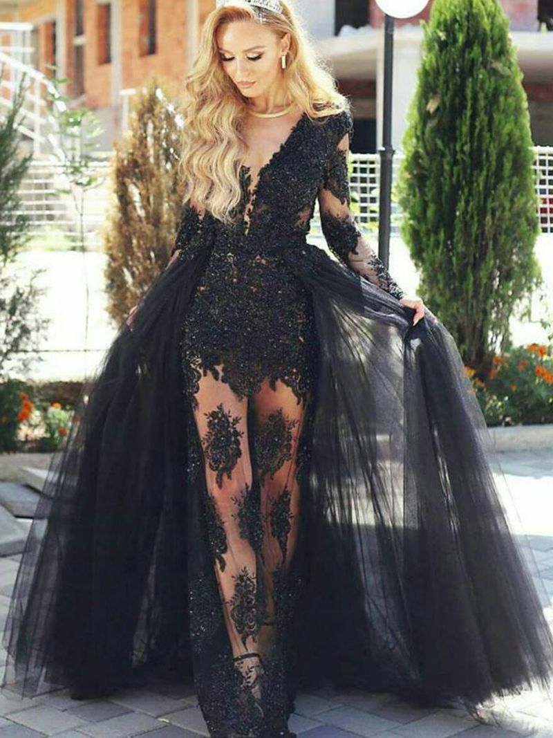 Sheer Neck Appliques Long Sleeves Lace Tulle Evening Dress With Train Long Sleeve Evening Dresses Long Sleeve Formal Gowns Tulle Evening Dress [ 1067 x 800 Pixel ]