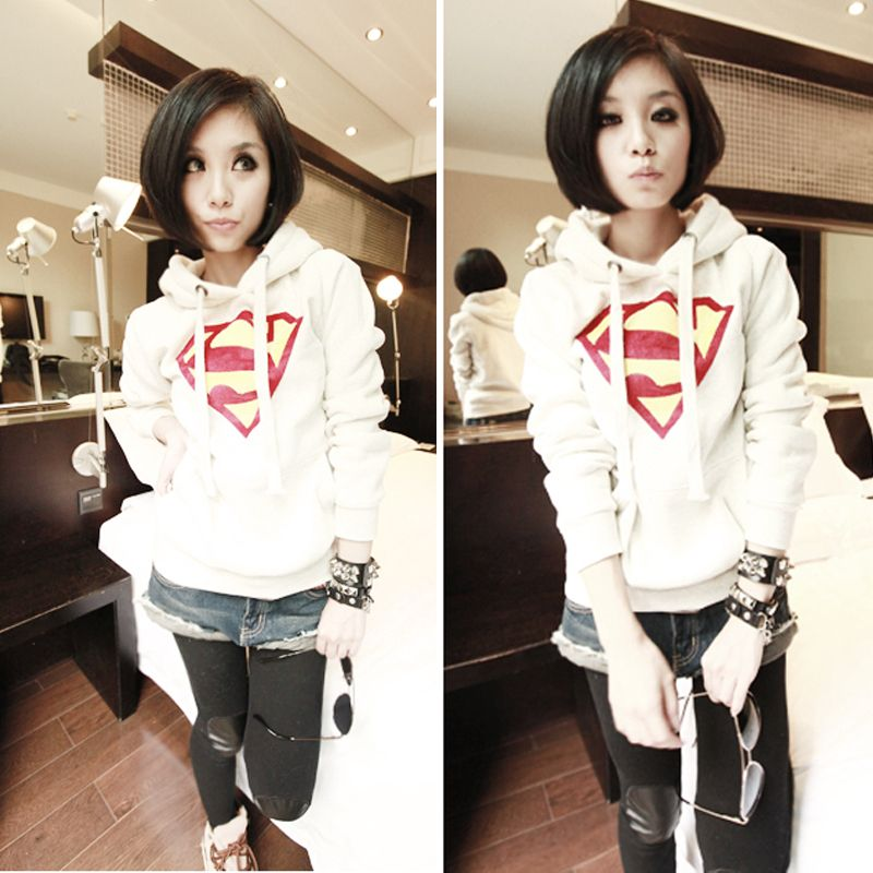 Cute Womens Superman Logo Hoodie Coat Casual Pullover Tops Casual Sweatshirt Free&Drop Shipping-in Hoodies & Sweatshirts from Apparel & Accessories on Aliexpress.com | Alibaba Group