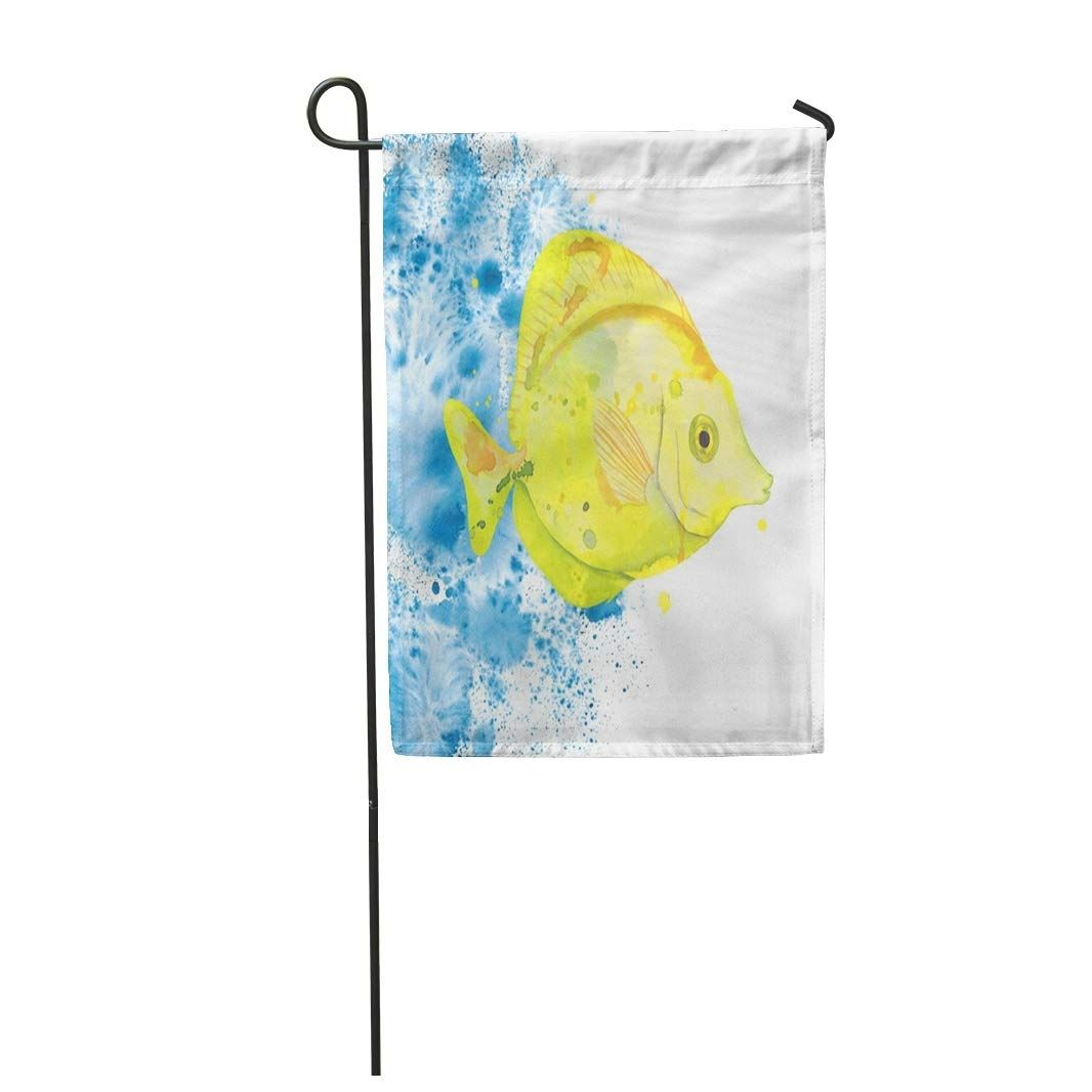 Watercolor Yellow Tang Fish Water Splashes Background Aquarium