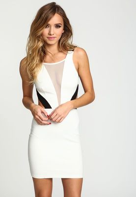 Ivory Colorblock Mesh Bodycon Dress,