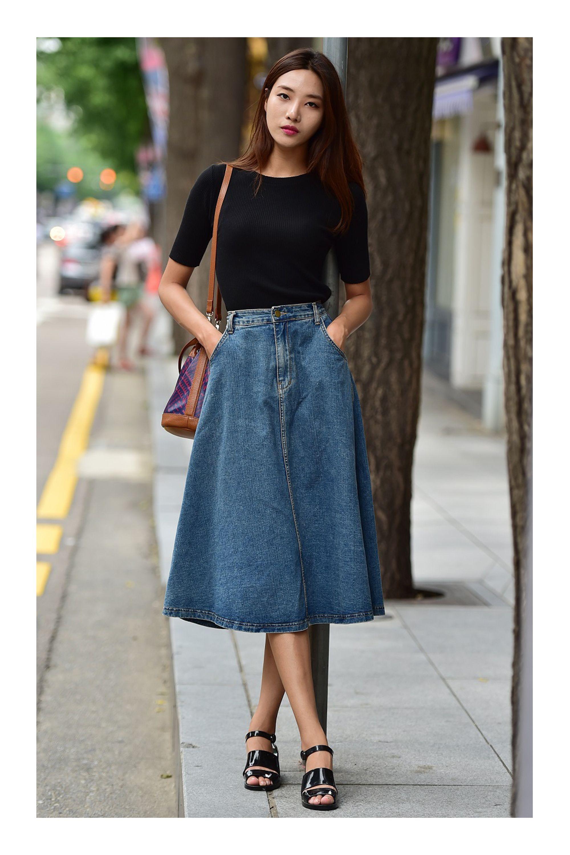 b0c9e4f06 Looks con Falda Denim | faldas en 2019 | Faldas, Faldas de mezclilla ...