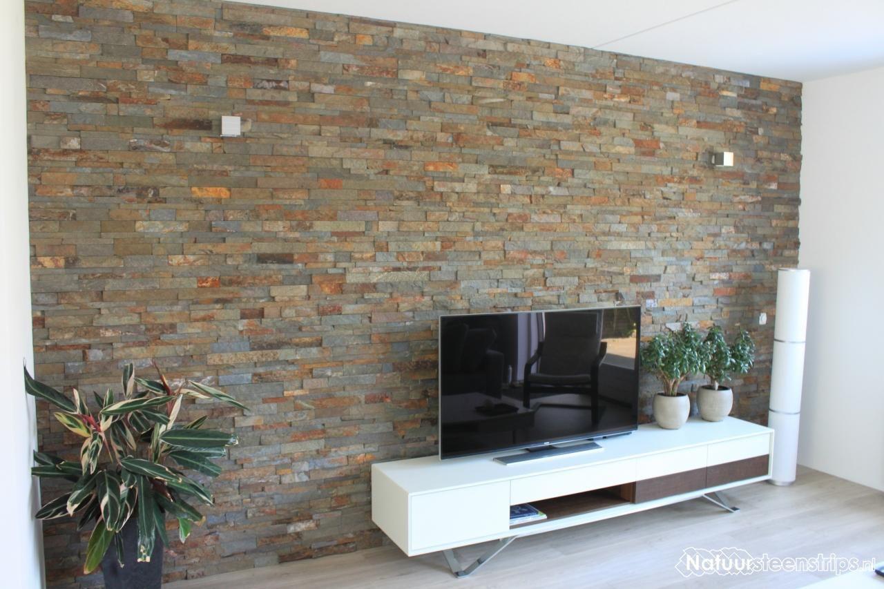 Wandbekleding muur televisie steenstrips woonkamer for Steenstrips woonkamer