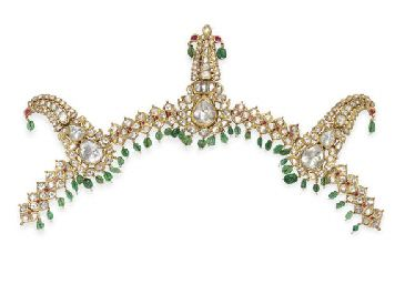 A diamond and emerald Indian sarpech (turban ornament), Mughal or Deccani, late 19th century