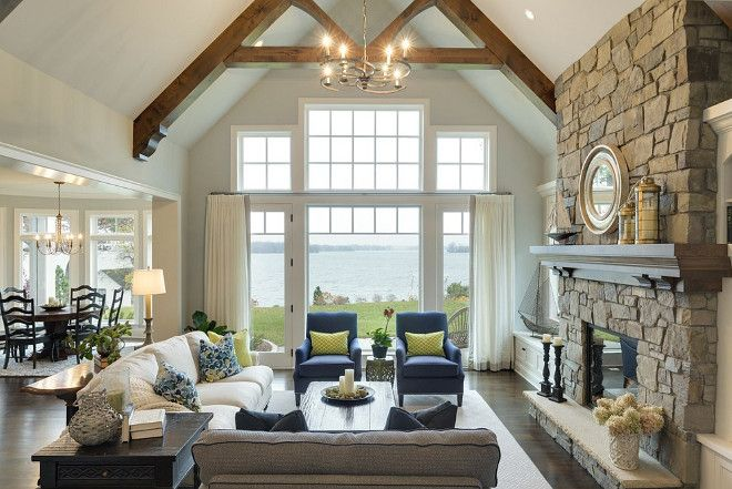 Saving This Again Trusses On Ceiling Furniture Placement Couches With End Table Lake House Interior Farm House Living Room Farmhouse Style Living Room