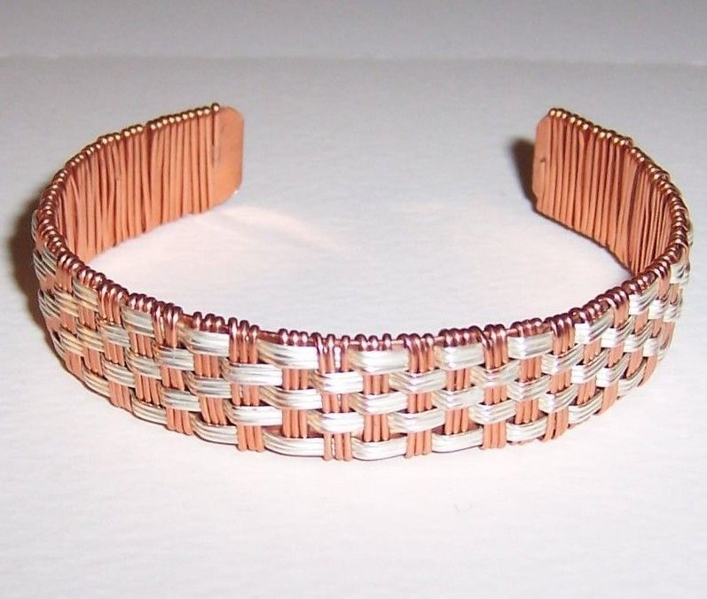 Silver and Copper Wire Woven Adjustable Cuff Bracelet #Handmade ...