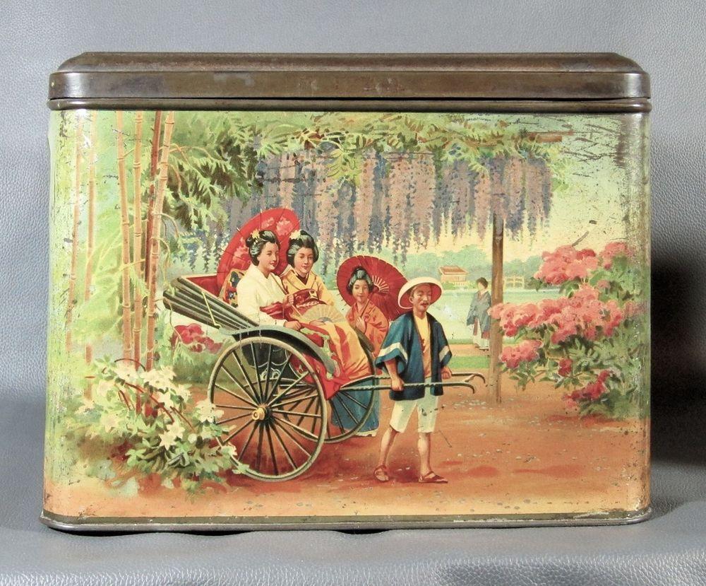 Vintage Tin British Tea Caddy - Japanese Motif - Geishas - Tea Ceremony #Asian