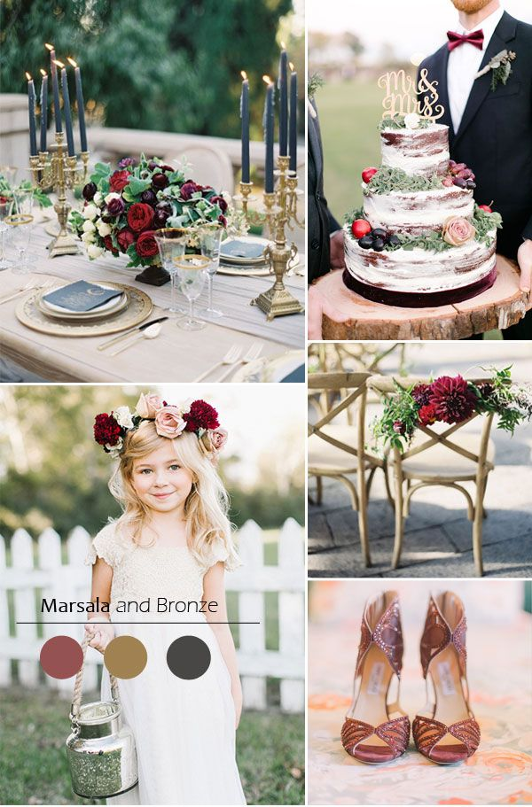 Top 5 fall wedding color combo ideas for autumn brides 2015 marsala and bronze fall wedding color ideas 2015 junglespirit Images