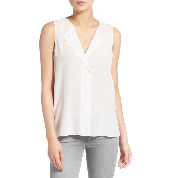 3fcea0e4f1 Trouve V-Neck Sleeveless Silk Top ($74) ❤ liked on Polyvore featuring tops,  white snow, white sleeveless top, silk tank top, sleeveless tank tops, white  ...