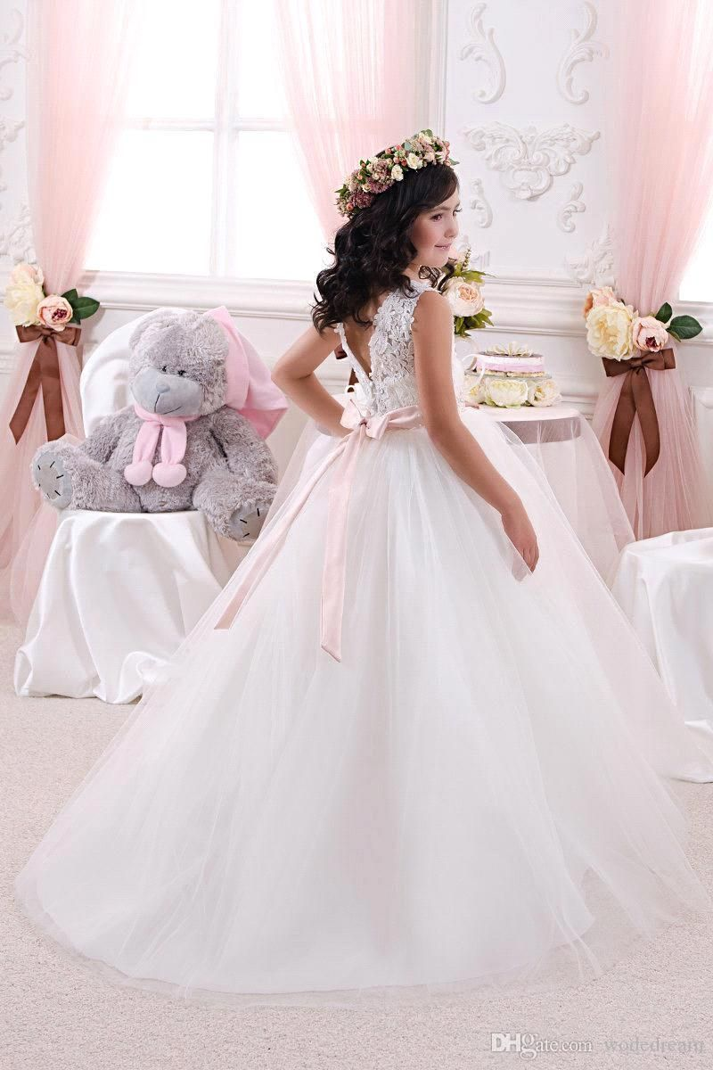2020 Lace Bow Girls Pageant Dresses First Communion