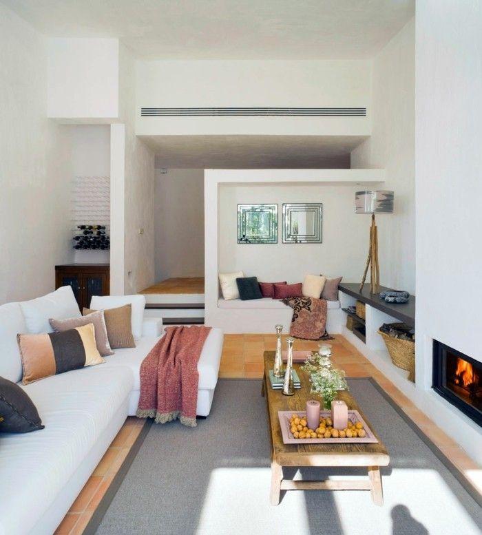 wohnideen wohnzimmer grauer teppich weiße möbel helle wände