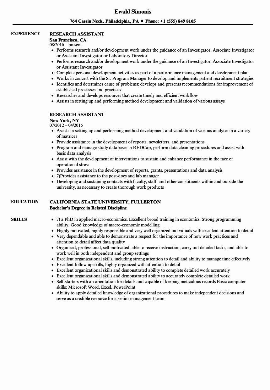 20 Research assistant Resume Description Research