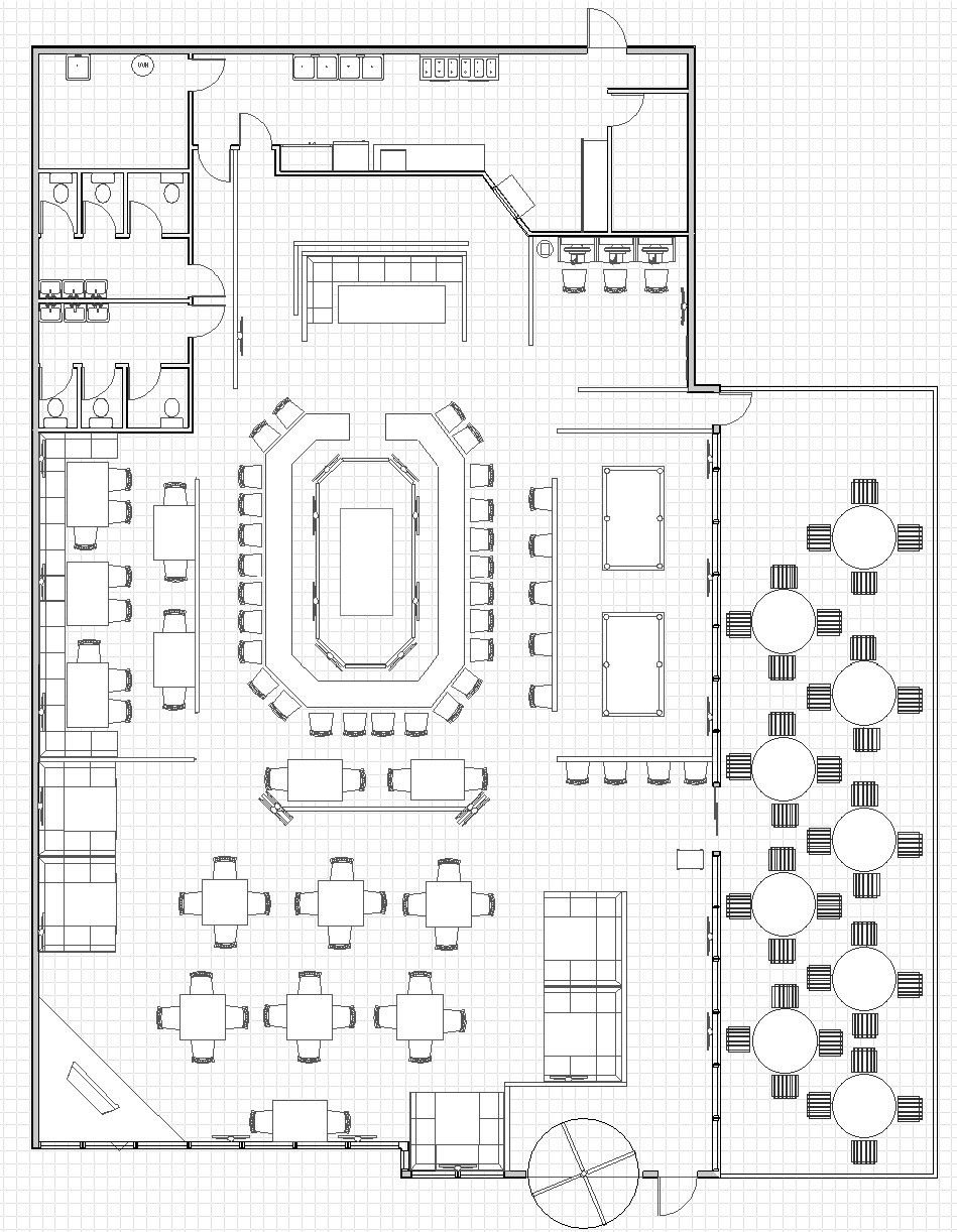 Bathroom drawings design - Floor Plan For A Restaurant Sports Bar That I Just Finished Designing For A Client He Was Easy To Work With And The Entire Team Seemed To Have A Good I