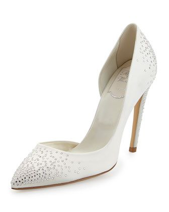 Strass-Embellished Half-d\'Orsay Pump, White by Roger Vivier at Neiman Marcus.