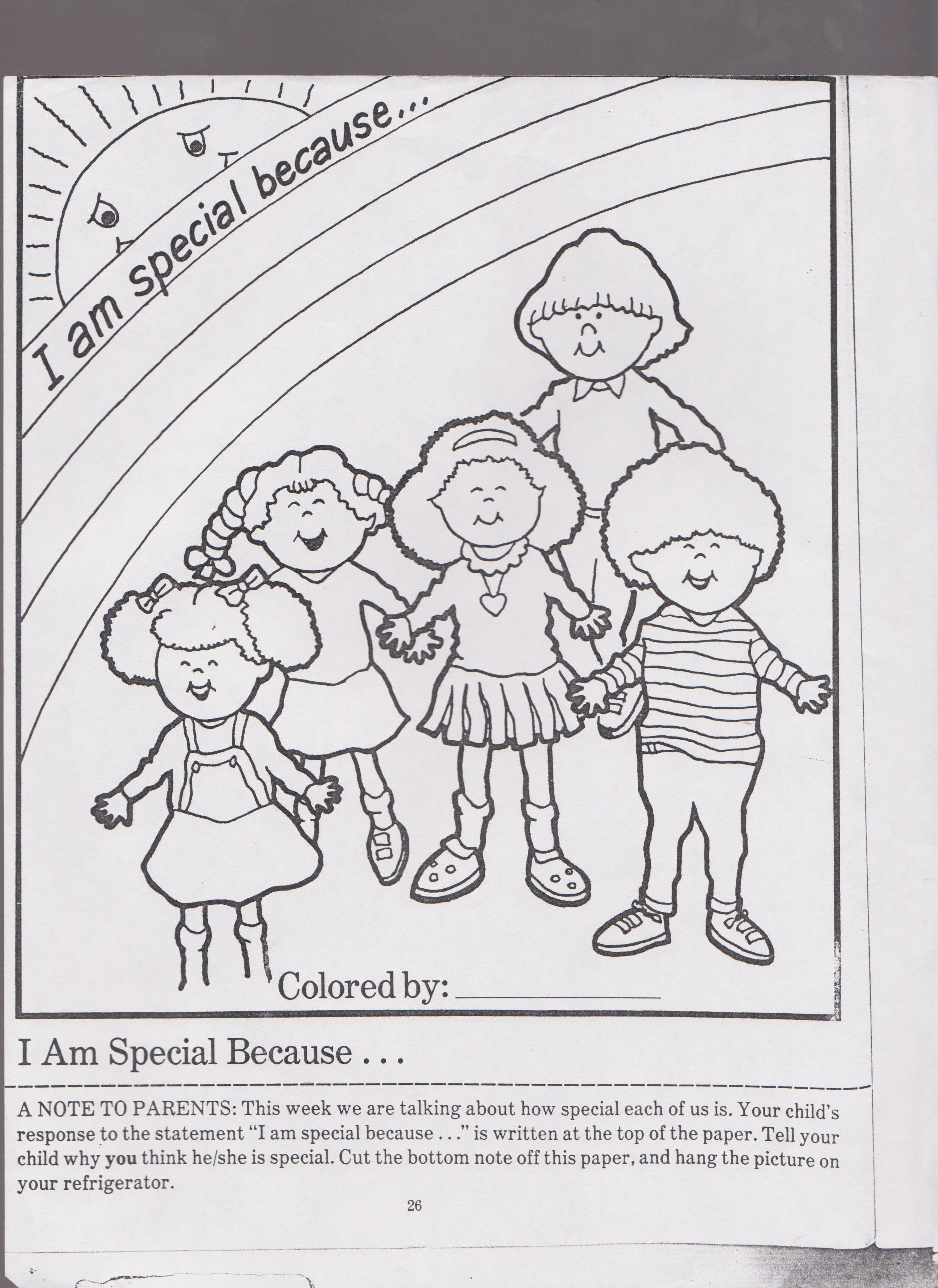 Self Esteem Lesson Plan I Am Special Worksheet