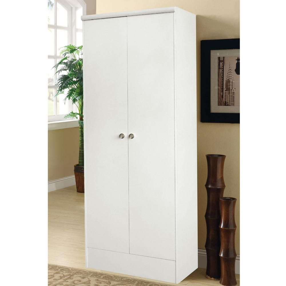 Home Source Industries Home Source Aaronsburg White 2 Door Pantry 154brd Mop Pantry Storage Cabinet Wood Pantry Cabinet Tall Pantry Cabinet