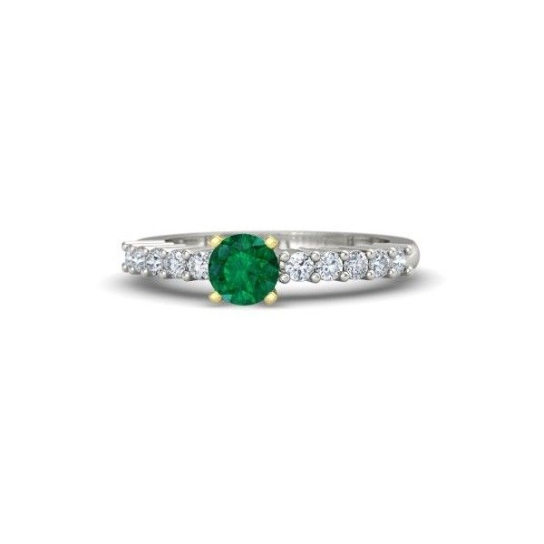 Gemvara Tiana Ring ($2,075) ❤ liked on Polyvore featuring jewelry, rings, platinum, round ring and gemvara
