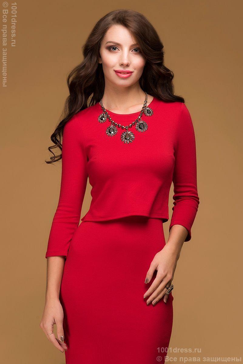 24cc2033f6d Красное платье длины миди с имитацией юбки и топа купить в  интернет-магазине 1001DRESS