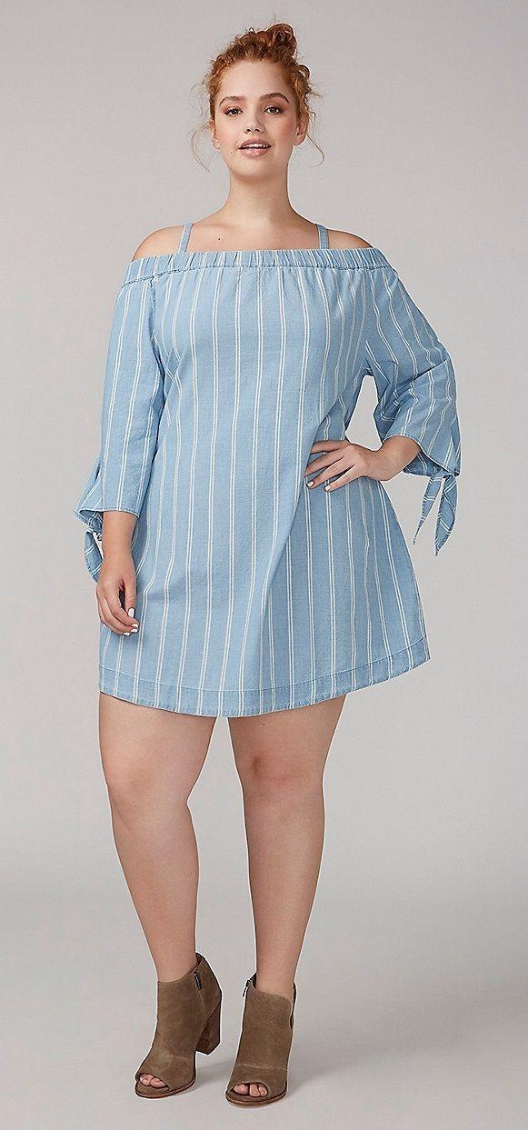 Plus Size Chambray Dress Fofinha E Com Charme Pinterest