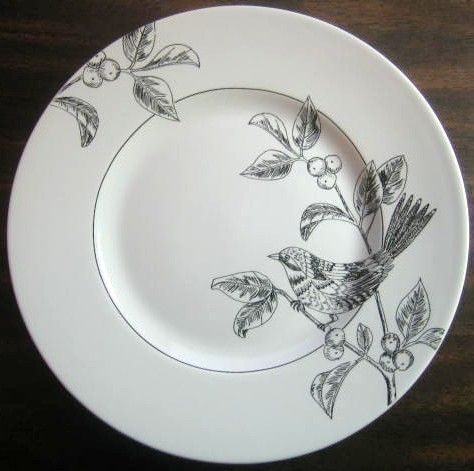 Decorative Dishes - Black on White Line Drawn Bird Berries Plate M, $19.99 (http://www.decorativedishes.net/black-on-white-line-drawn-bird-berries-plate-m/)