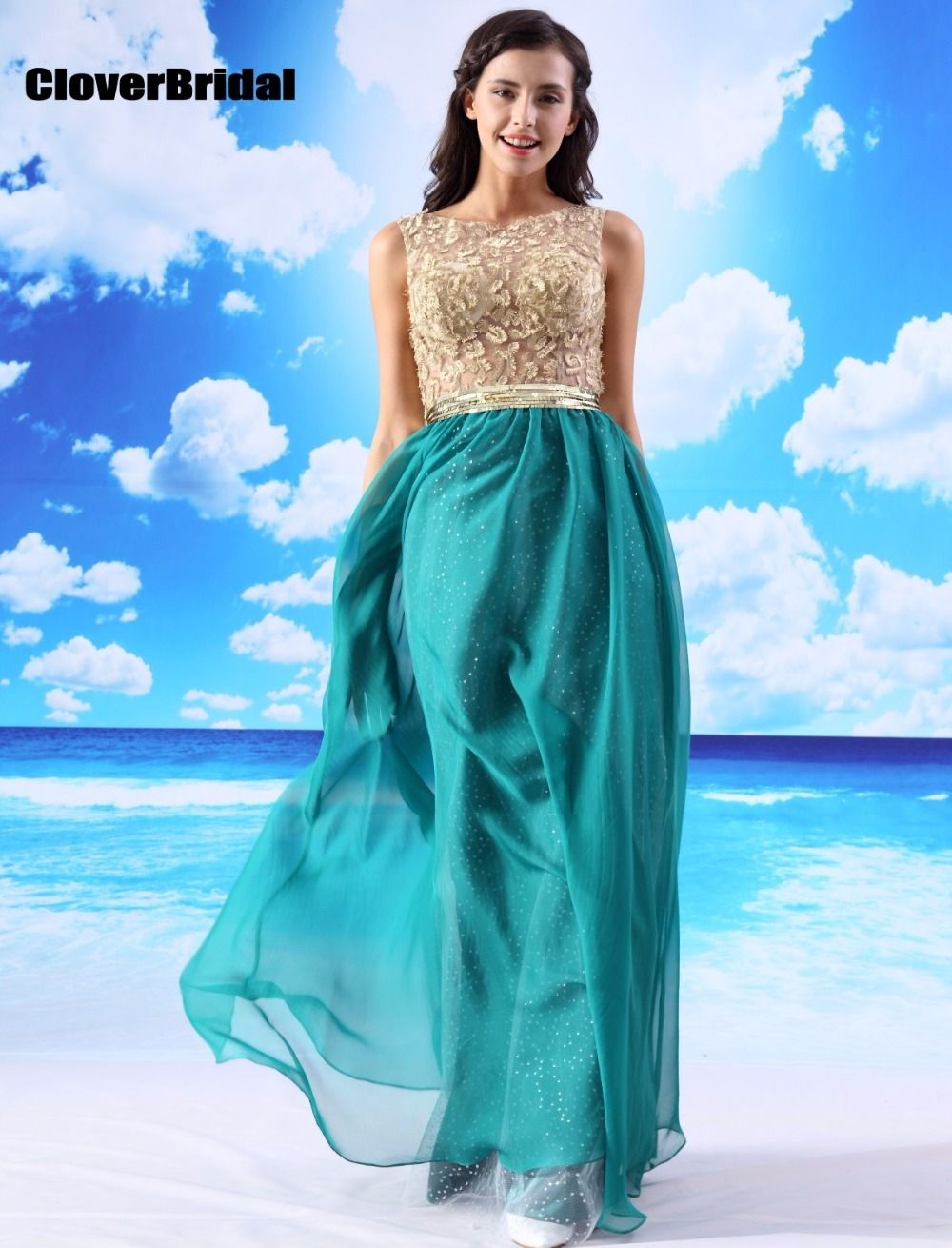 CloverBridal in stock fast shipping sleeveless long christmas dress ...