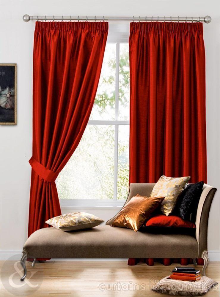 Marvelous Java Red Faux Silk Pencil Pleat Curtain