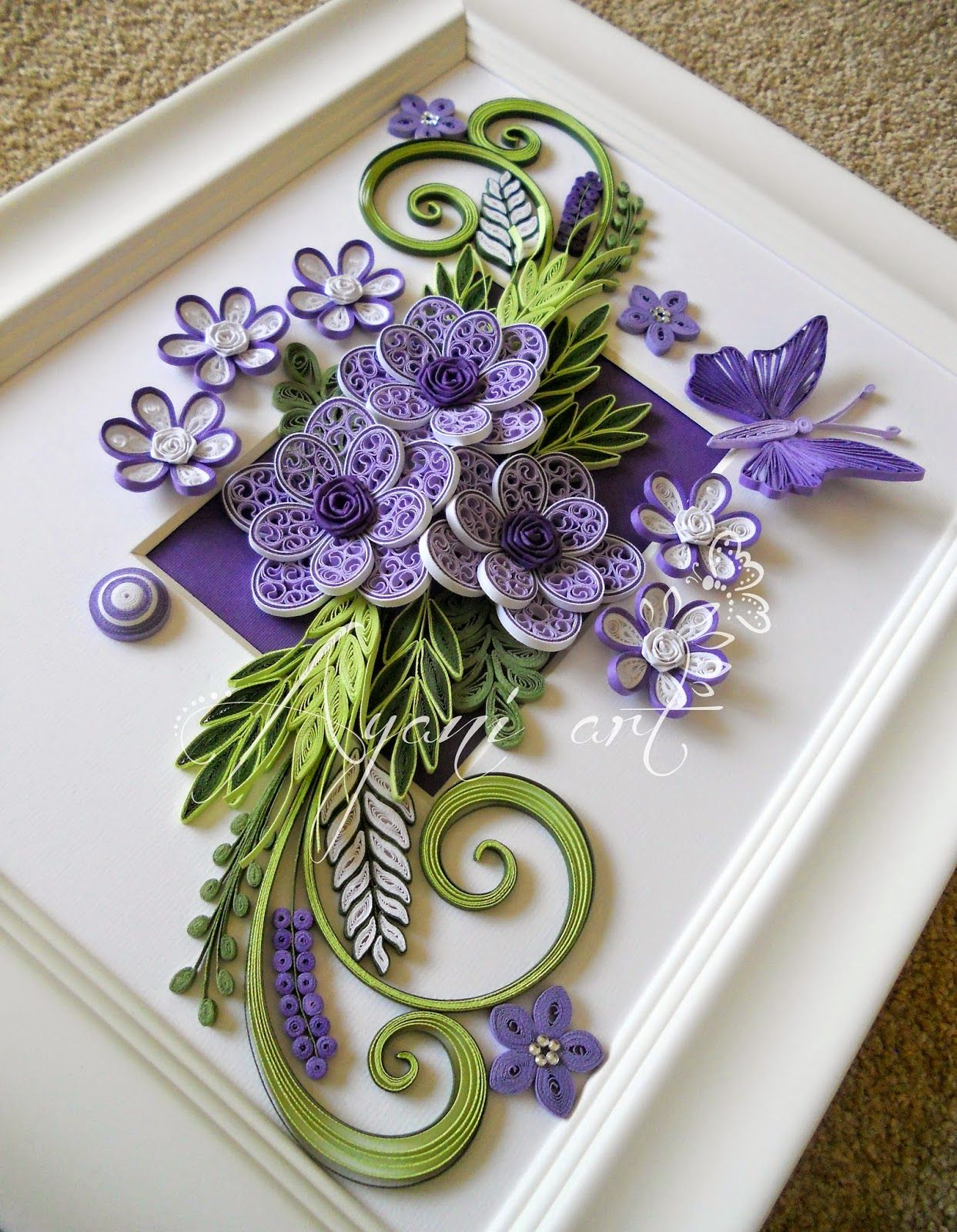 Ayani Art Purple And Green Quilling Quill Pinterest Quilling