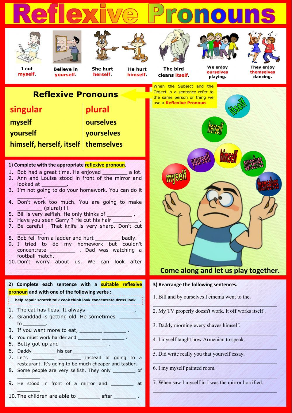 Reflexive Pronouns interactive and downloadable worksheet