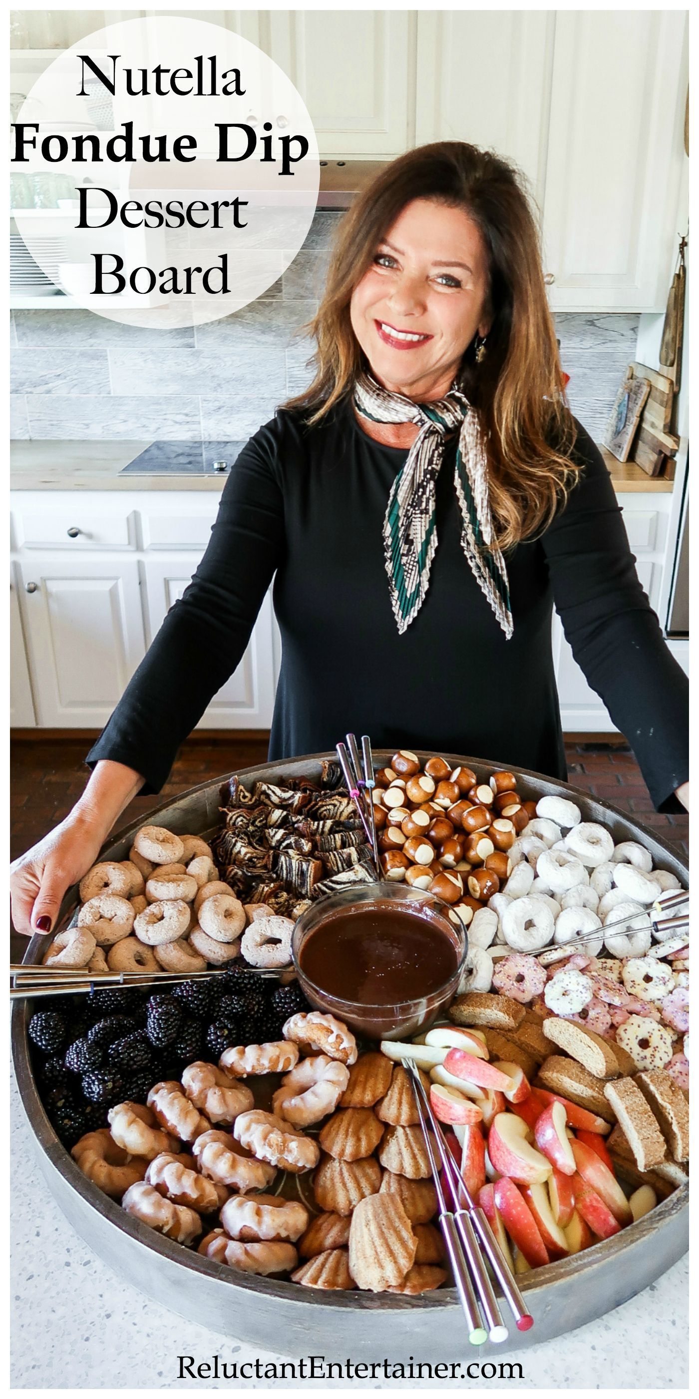 Nutella Fondue Dip Dessert Board - Reluctant Entertainer