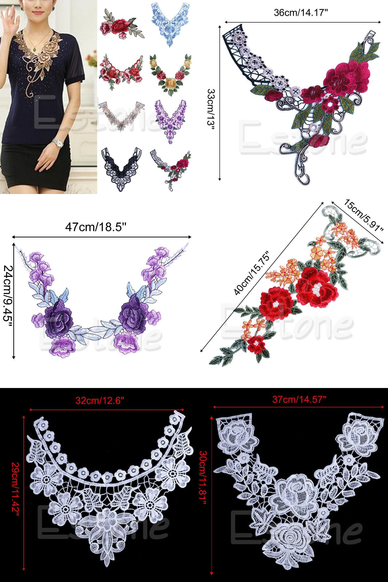 Lace Embroidered Floral Neckline Neck Collar Trim Clothes Sewing Applique Crafts