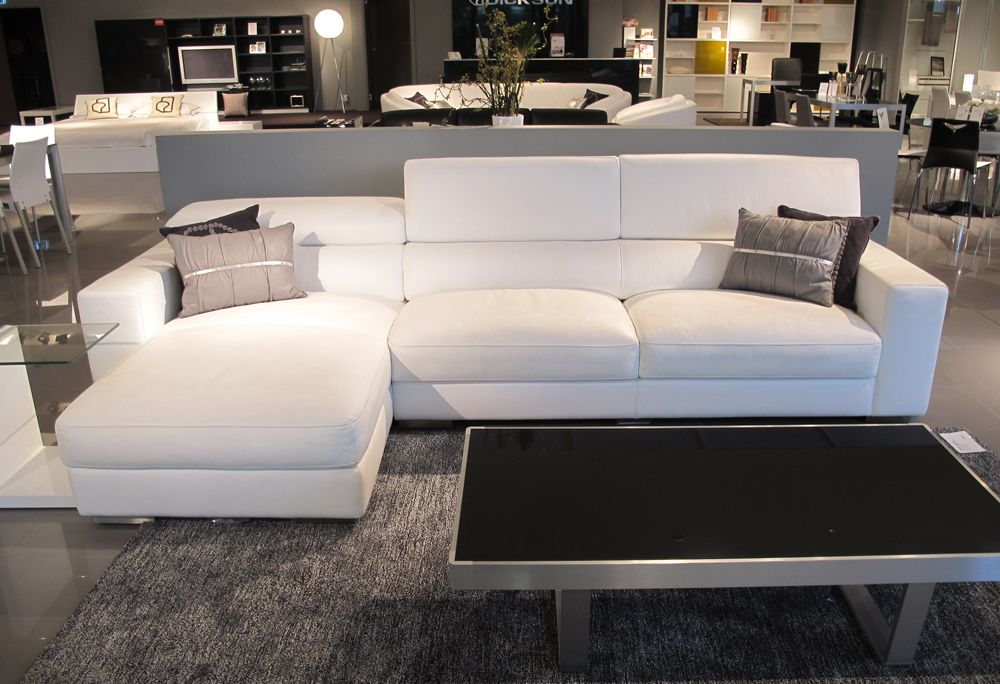 Ampezzo pure white leather sofa with chaise sofas - Yellow leather living room furniture ...