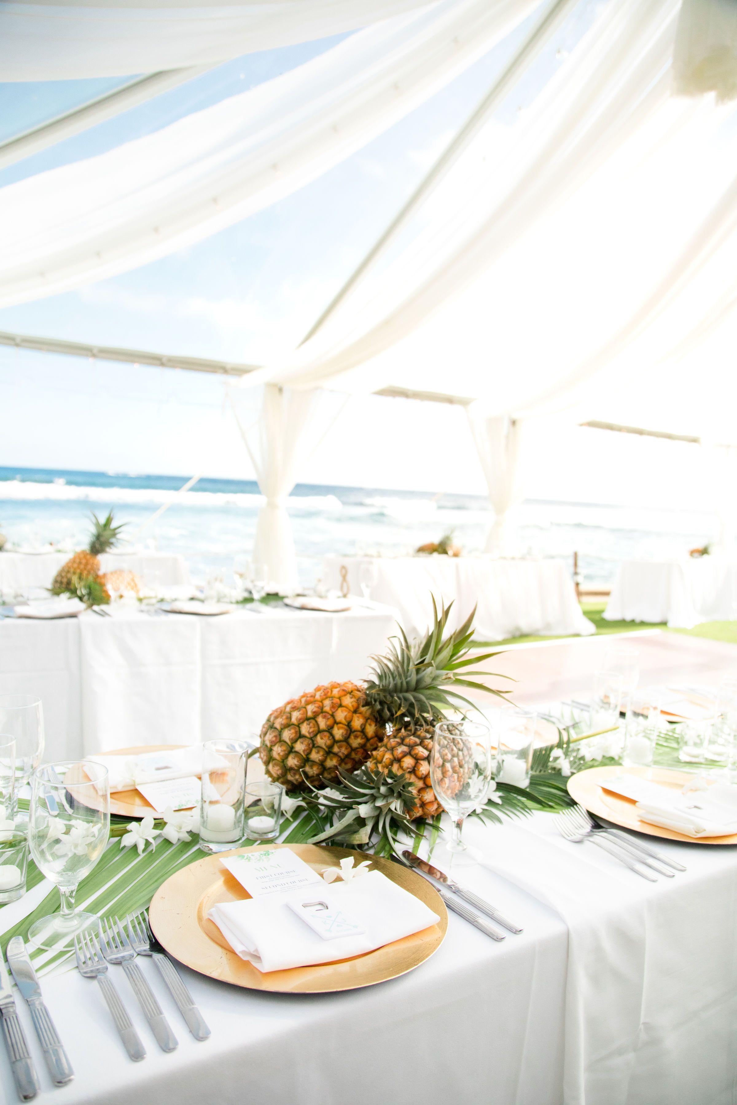 Destination Hawaii Wedding Luxe Chiffon Under A Clear Canopy